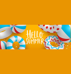 hello summer banner 3d pool party decoration vector image