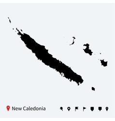 High detailed map of New Caledonia with navigation vector image
