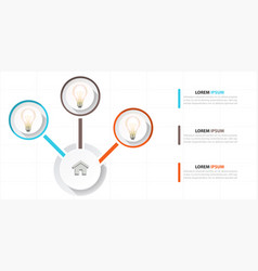 infographic bulb design three chart template vector image