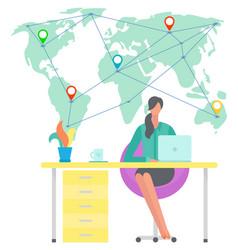 International business at home freelancer distant vector