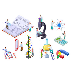 Isometric science set scientist and student with vector