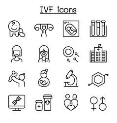 ivf in vitro fertilization icon set in thin line vector image