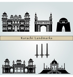 Karachi landmarks and monuments vector