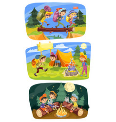 Kids summer camping concept vector