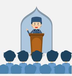 Listening lecturer speaking inside mosque vector