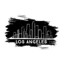 Los angeles skyline silhouette hand drawn sketch vector