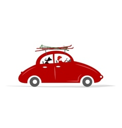 Man and dog in red car with skis on the roof rack vector