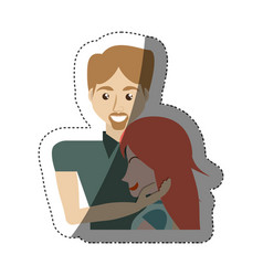 Man caress girl lovely shadow vector