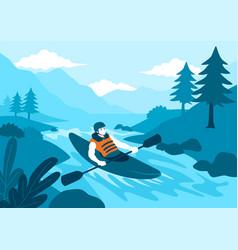 man kayaking vector image