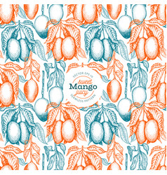 mango branches seamless pattern hand drawn tropic vector image