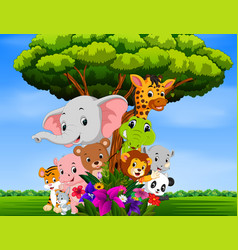 Many animal hiding behind a tree vector