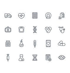 medicine icons set in line style on white vector image