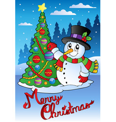 merry christmas card with snowman 1 vector image