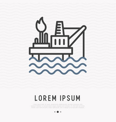oil producing platform thin line icon vector image