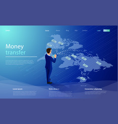 Online money transfer concept businessman vector