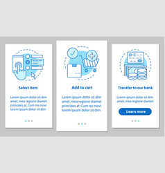 Online shopping onboarding mobile app page screen vector