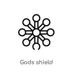 Outline gods shield icon isolated black simple vector