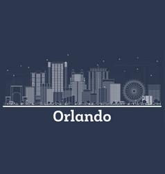 outline orlando florida city skyline with white vector image