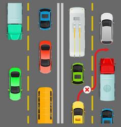 Overtaking in dense traffic flow diagram vector