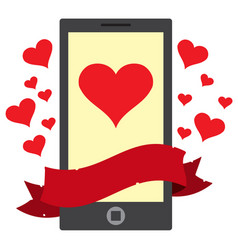 Phone message heart color on theme travel vector