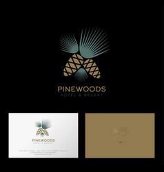 Pinewoods logo hotel resort pine cone needles vector