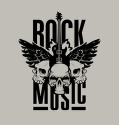 Poster for rock music with guitar wings and skull vector