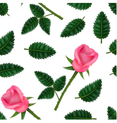 realistic detailed 3d flower rose seamless pattern vector image