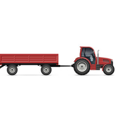 red tractor with agricultural trailer side view vector image