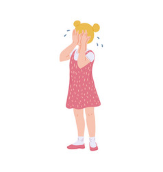 Sad blonde kid girl crying covering face with her vector