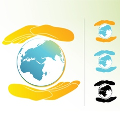 safe hands earth vector image