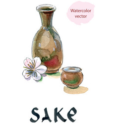 Sake saki bottle and cup japanese liquor vector