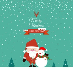 Santa Claus and Snowman on christmas day vector image