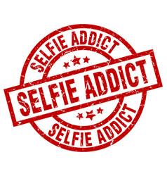 Selfie addict round red grunge stamp vector