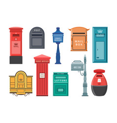 set modern and old style mail boxes flat vector image