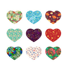 Set of nine hearts vector