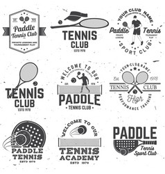 set of paddle tennis and tennis badge emblem or vector image