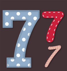 Set of stitched font -7 Seven vector image