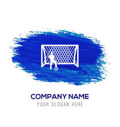 Soccer goal icon - blue watercolor background vector
