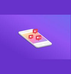 Social media notification on smartphone vector
