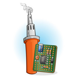 Soldering iron and pcb with components cartoon vector