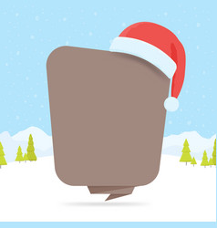 speech bubble with christmas hat vector image