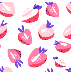 strawberry flat style print vector image