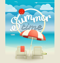 Summer time concept beach landcape with chairs vector