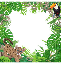 Tropical background with little puma and toucan vector