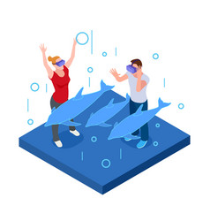 underwater virtual reality happy man and woman in vector image