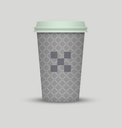 vintage texture paper cup take away with logo vector image
