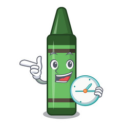 with clock green crayon isolated in cartoon vector image
