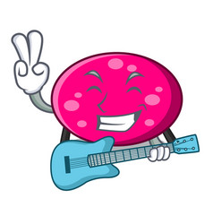 with guitar ellipse mascot cartoon style vector image