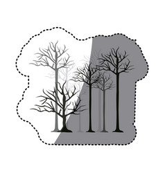 Contour trees without leaves icon vector