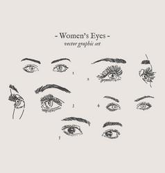 eyes drawings set vector image
